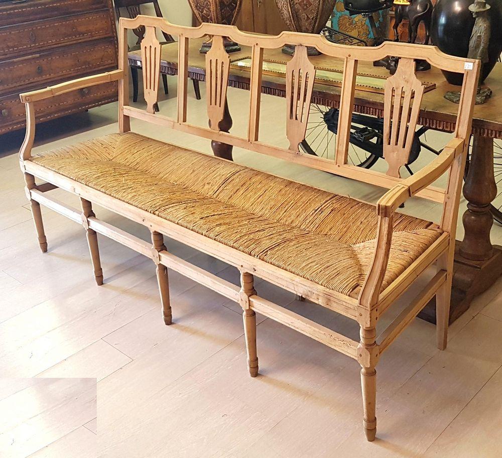 antica panca in legno noce e seduta in paglia luigi xvi