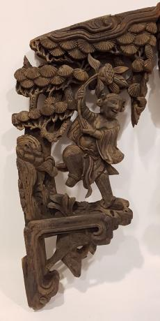 Coppia Ornamenti Intagliati in Legno Cinesi per Porta