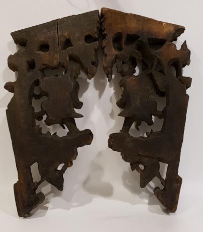 Retro Coppia Ornamenti Intagliati in Legno Cinesi per Porta