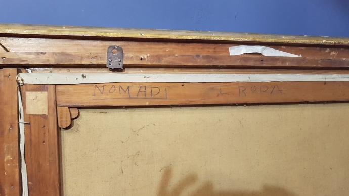 "Retro Grande Dipinto di Leonardo Roda""Nomadi"" Torino, Primi del '900"
