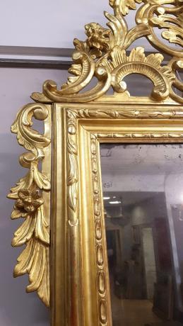 Dettaglio Grande Specchiera Piemonte Legno Dorato Fine '800