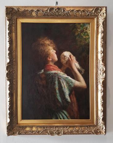 "Dipinto di Ernesto Serra ""Bambina con Colomba"" Fine '800"