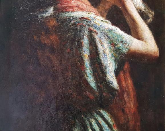 """Dettaglio Dipinto di Ernesto Serra """"Bambina con Colomba"""" Fine '800"""