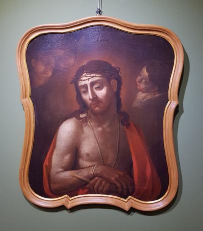 """Frontale Dipinto olio su tela """"Ecce Homo"""", prima metà '700"""