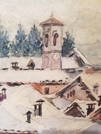 """Dettaglio Dipinto Acquerello di Aldo Raimondi """"Paesaggio Innevato"""""""