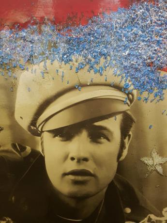 """Dettaglio Opera Frozen di Omar Ronda """" giovane Marlon Brando """""""