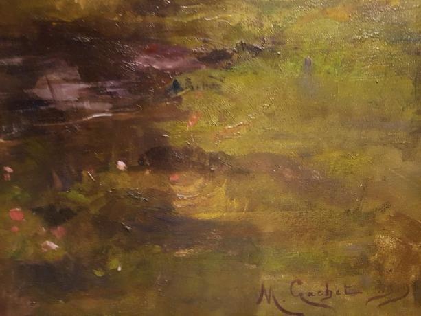 "Firma Grande Dipinto su tela "" Giardini reali di Torino "" di M Gachet - Oil Painting"