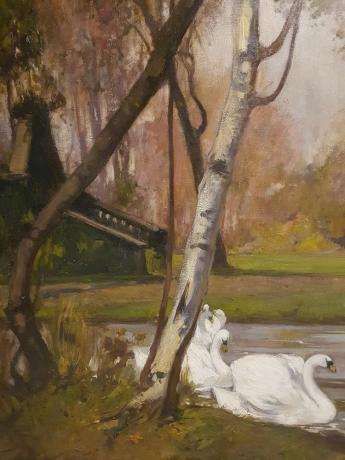 """Dettaglio Grande Dipinto su tela """" Giardini reali di Torino """" di M Gachet - Oil Painting"""