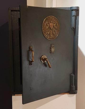 Frontale Cassaforte vintage inglese, Milners' Patent , originale ,a chiave di fine '800.