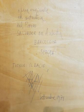 """Dettaglio  Opera di Salvador de Aulestia """" Il Bacio """" Barcellona 1971"""