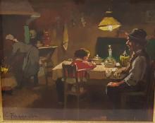 Dipinto Cafiero Filippelli Anni '40 Toscana Interno