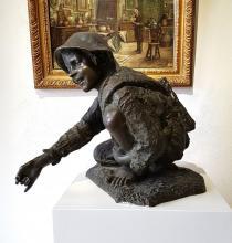 """Scultura in Bronzo di Enrico Astorri """"Spazzacamino"""" h 57 cm"""
