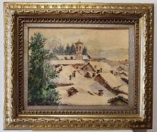 """Frontale Dipinto Acquerello di Aldo Raimondi """"Paesaggio Innevato"""""""