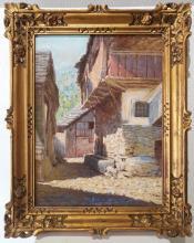 """Frontale Dipinto olio su tavola di C.C. Tagliabue """" Rustico in Valsassina """""""
