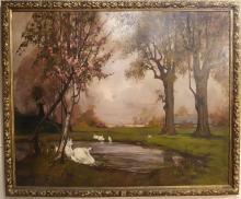 "Frontale Grande Dipinto su tela "" Giardini reali di Torino "" di M Gachet - Oil Painting"